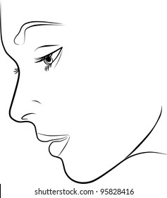 beautiful young woman profile  - freehand on a white background