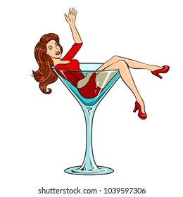 Beautiful young woman sit on high cocktail glass for alcohol pop art retro raster illustration. Isolated image on white background. Comic book style imitation.