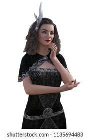 A beautiful young woman wearing an elegant 1920's gown - 3D render.