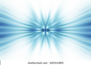 Beautiful zoom motion effect abstract background. Illustration of colorful explosion with blue green bright rays and smooth swooshes on white surface. Great backdrop artwork for graphic design