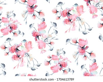 beautifull new Pink with grey  flowers seamless pattern