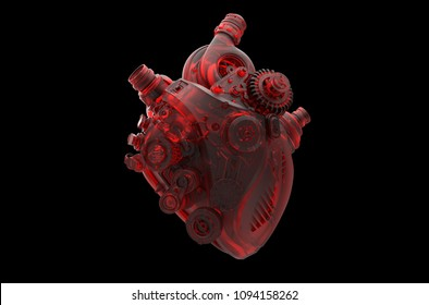 beautifully decorated see through heart shape engine 3D illustration