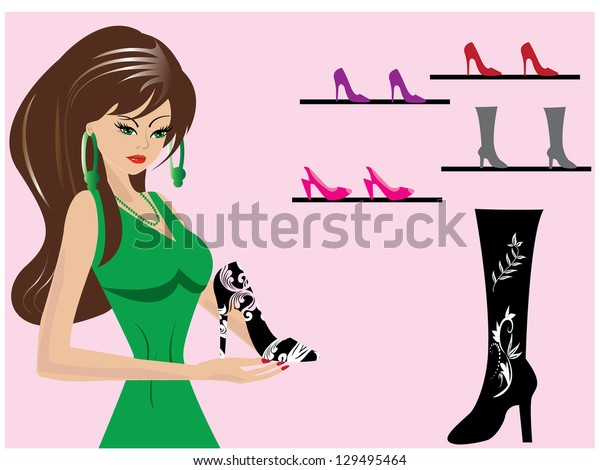 Beautiful-woman-in-shoe-shop
