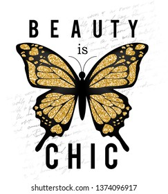 beauty is chic,butterfly,for t-shirt slogan