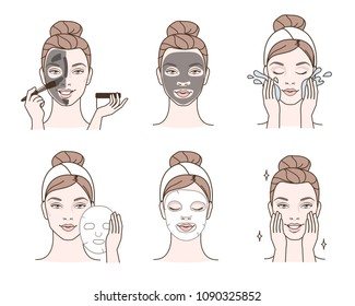 Beauty fashion girl apply different facial masks. Line style illustration isolated  on white background.