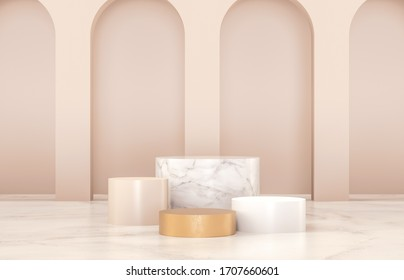 Beauty fashion luxury podium backdrop for product display. minimalist gold, marble and white background. 3d render.