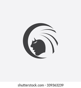 beauty girl face icon map pin stock illustration 262889024