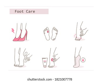 Beauty Girl has Feet Pain, Corn and Calluses due to Uncomfortable Shoe. Woman Use Pumice Stone, Foot Mask and Peeling Cream. Pedicure Spa Routine. Flat Line Illustration and Icons set.