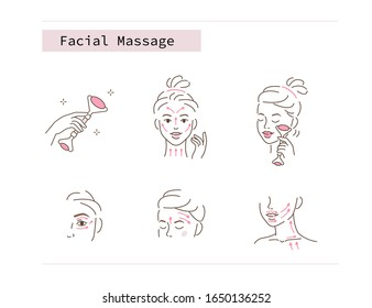 Beauty Girl Take Care of her Face and Use Facial Roller. Adorable Woman Making Skincare Procedures. Skin Care Facial Massage and Relaxation Concept. Flat Illustration and Icons set.
