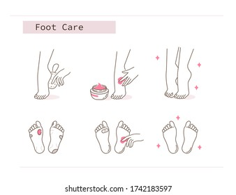 Beauty Girl Take Care of her Feet and Applying Peeling Cream. Woman Making Skincare Procedures against Foot Corn Calluses. Pedicure Spa Routine. Flat Line Illustration and Icons set.