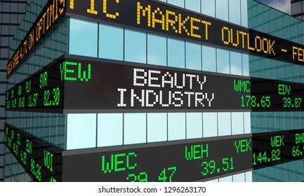 Beauty Industry Cosmetics Business Stock Market Ticker Wall Street Building 3d Illustration