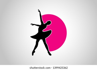 Beauty lady dancing logo design.  Dancing lady logo isolated on white background. Waltz dancers silhouette