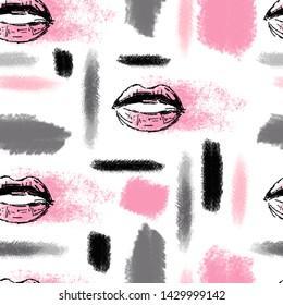 Beauty pattern cosmetics gray and pink