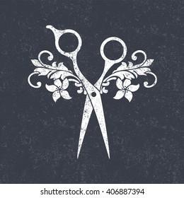 Beauty salon logo. Scissors icon on black grunge pattern.