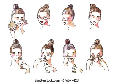 Beauty set with lovely brunette girl taking care of her skin. Collection isolated on white background with girl applying patches under eyes, preventing blackheads Hand drawn watercolor illustration