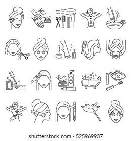 Beauty, skin care, manicure, facial mask, makeup, pedicure, haircut, cosmetics,  hair coloring, massage line icons set, illustration.