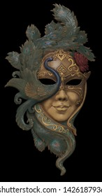 Beauty venetian mask. 3d illustration