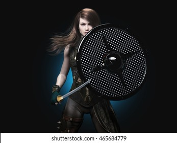 beauty warrior woman with shield and sword - 3d rendering