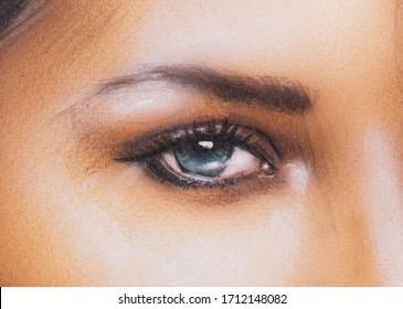 El ojo de mujer de belleza. Pintura original del ojo contacto.