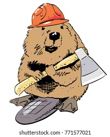 Beaver cartoon image. Artistic freehand drawing. Authentic cartoon.