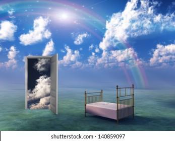 Bed in fantasy landscape