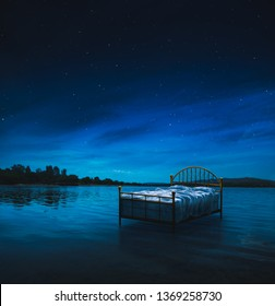 Bed with golden frame in a lake at night / sleep and sweet dreams concept image /mixed media/ 3D illustration
