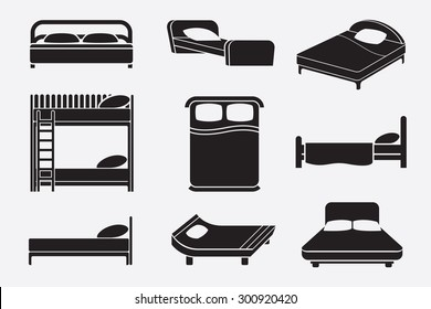 Bed icons set. Bedroom furniture, mattress and relax service