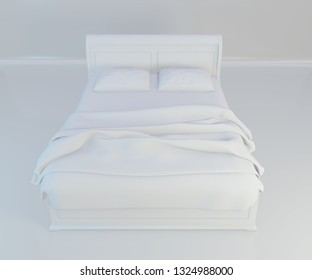 Bed with soft white pillows, front view. 3d rendering.