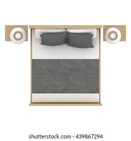 double bed top view. Fine Top Bed Top View 3D Illustration You May Find This Object With Different  Colors In My To Double Top View W