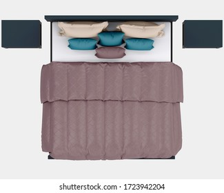 Bed top view isolated on background with mask. 3d rendering - illustration