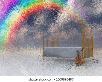 Bed with violin and rainbow in surreal scene.  3D rendering