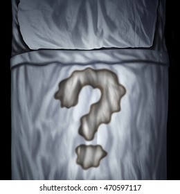 Bed wetting problem or bedwetting questions as a fluid stain on a mattress shaped as a question mark as a medical bladder health icon or psychological issue during sleep in a 3D illustration style.