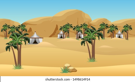 Bedouin camp in desert. Landscape for cartoon or game asset. Parallax layers for game level background.