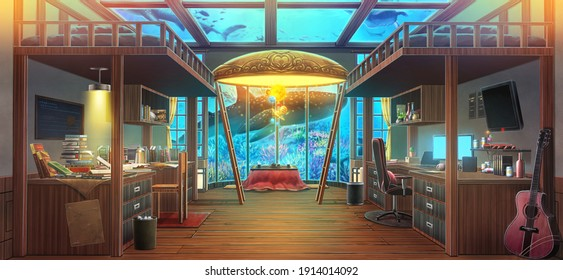 bedroom and aquarium - Turn on the light , 2D Anime background , 2D Illustration.