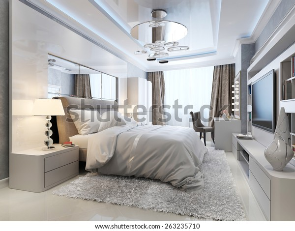 Bedroom Art Deco Style 3d Render Stock Illustration 263235710