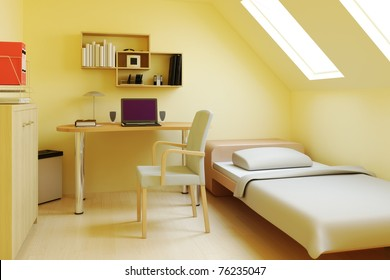 Bedroom in attic or loft
