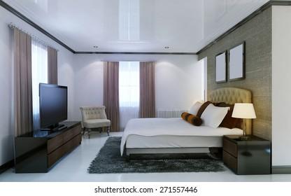 Bedroom avant-garde style. 3d render