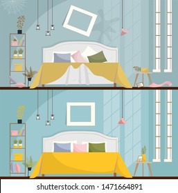 Bedroom before and after cleaning. Dirty room Interior with scattered Furniture and items. Bedroom interior with a bed, nightstands, wardrobe and large windows. Flat cartoon style illustration