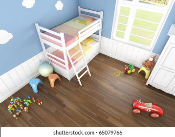 children´s  bedroom in blue walls with bunk bed and lots of toys on the floor seen from above
