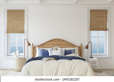 Bedroom in coastal style. Interior mockup. 3d render.