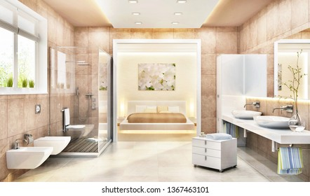 A bedroom combined with a bathroom in a modern style. 3d rendering