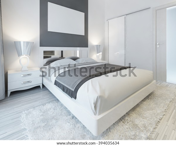 Bedroom Contemporary Style White Gray Colors Stock Illustration Extraordinary Contemporary Bedroom Colors Style