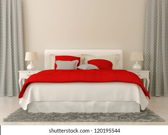 Bedroom decorated in red and grey  bedspread and curtains in Christmas style