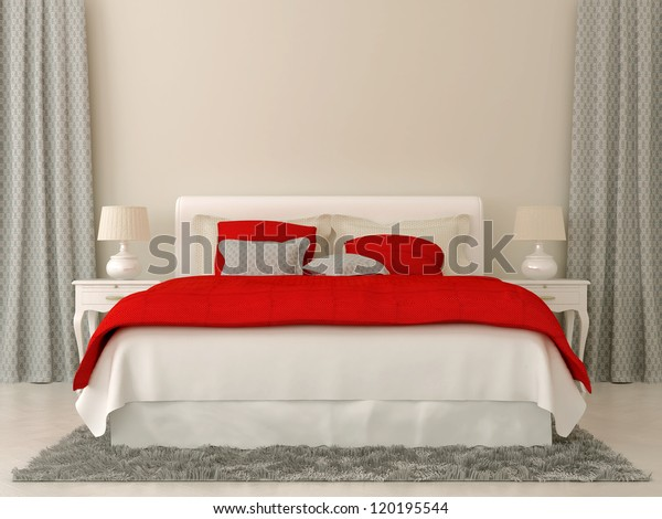 Bedroom Decorated Red Grey Bedspread Curtains Stock ...