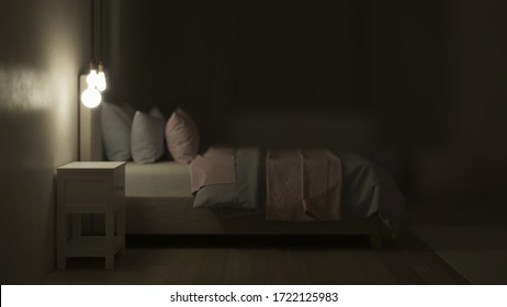Bedroom designed for girls. Kids room design. Night. Evening lighting. 3D rendering.