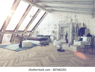 Bedroom fashioned in modern decorations with large vertical slanted windows, vaulted ceiling and large frame for paintings on wall next to sculpture. 3d Rendering.