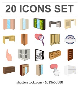Bedroom furniture cartoon icons in set collection for design. Modern wooden furniture isometric bitmap symbol stock web illustration.