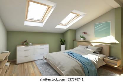 Bedroom in Green On The Attic  3d Rendering