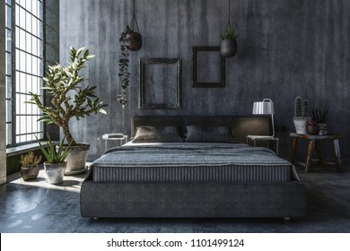 Bedroom with grey walls. Interior design concept with wide bed, potted indoor plants and decorations