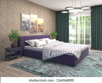 bedroom interior 3d illustration - Bettwasche Muster
